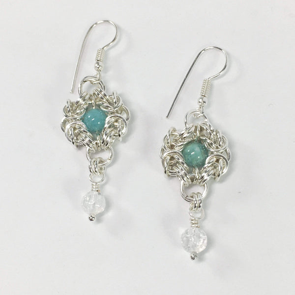 Handmade Romonov Chainmaille Amazonite And Clear Quartz Gemstone Earrings