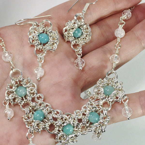 Handmade Romonov Chainmaille Amazonite And Clear Quartz Gemstone Necklace And Earrings Set
