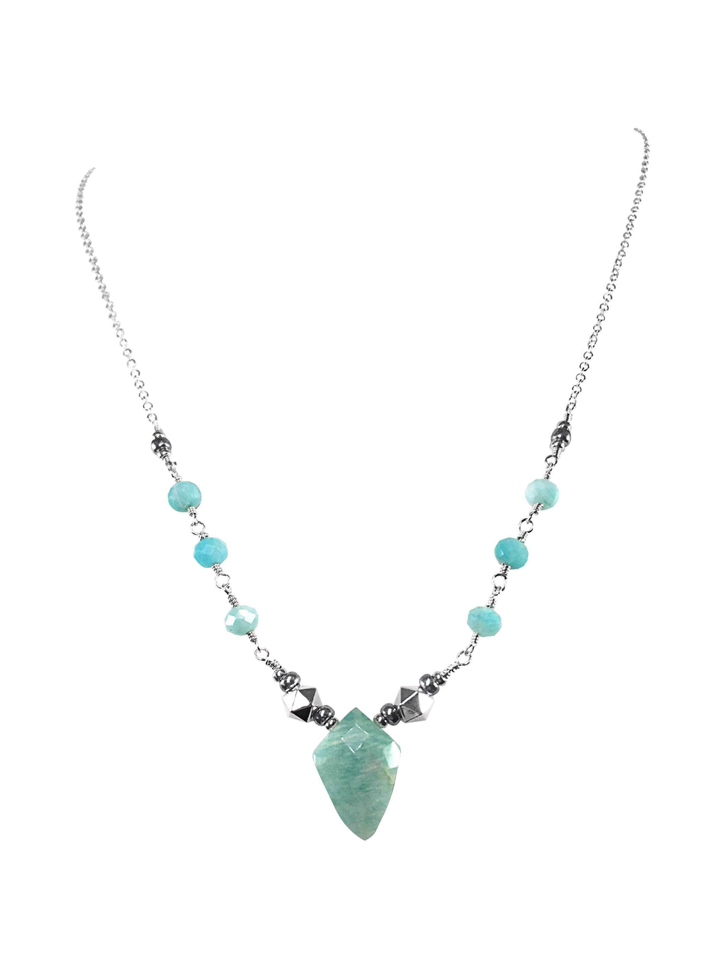 Handmade Amazonite Gemstone Sterling Silver Necklace