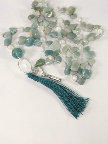Handmade Amazonite Gemstone Yoga Style Necklace