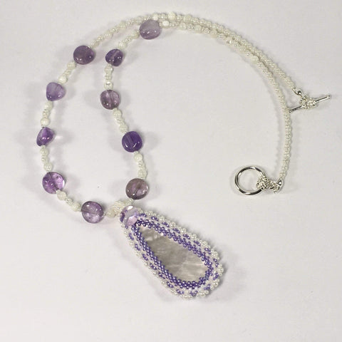 Handmade Amethyst And Mother Of Pearl Gemstone Beaded Necklace