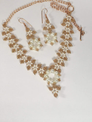 Handmade Beaded Bridal Necklace And Earrings Set