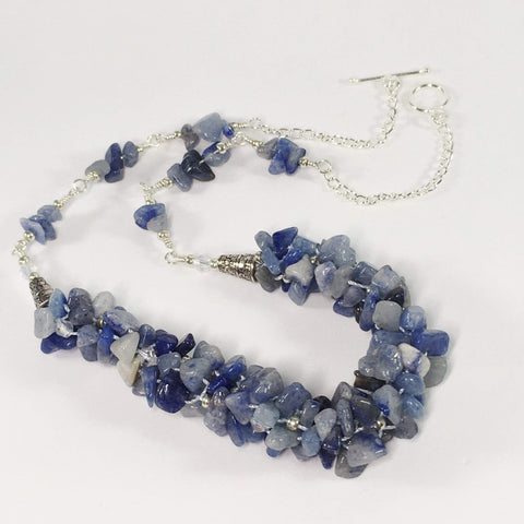 Handmade Blue Aventurine Kumihimo Gemstone Necklace