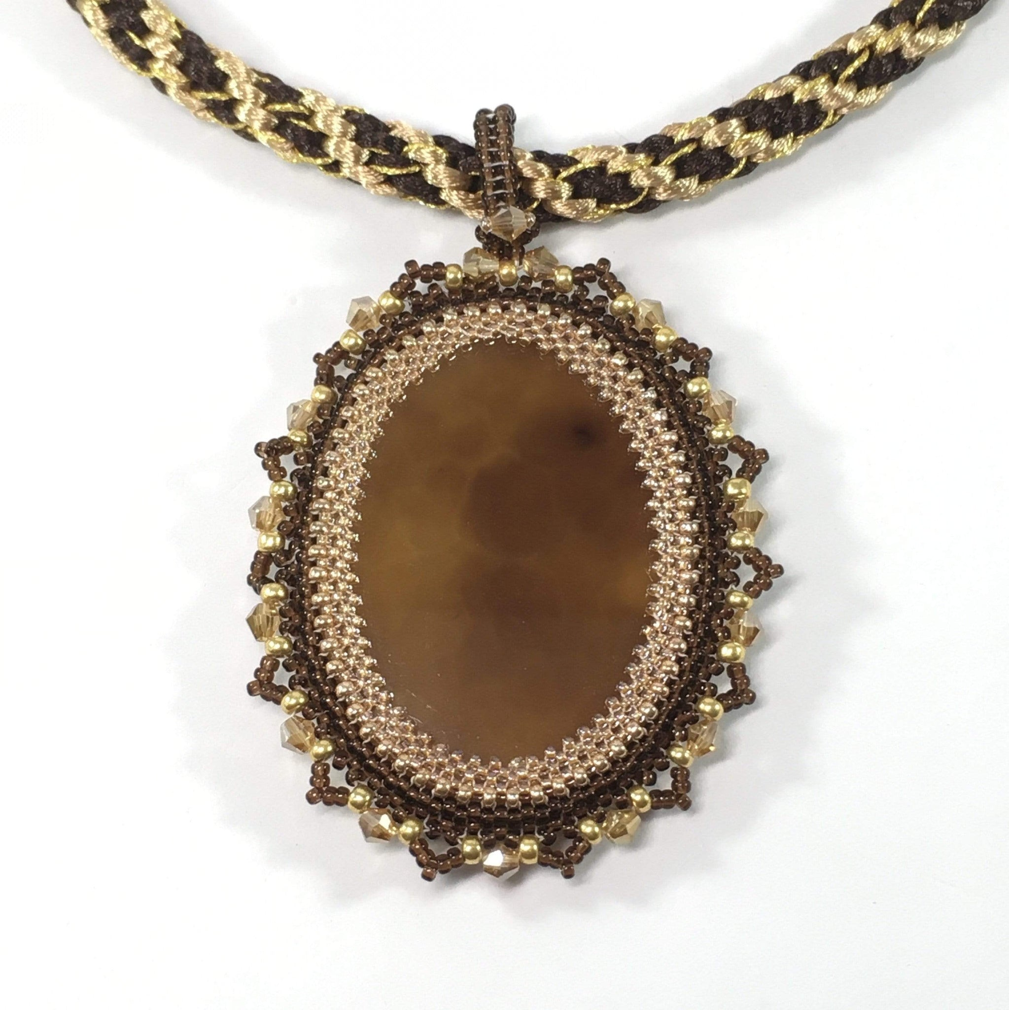 Handmade Brown Onyx Gemstone Beaded Pendant Necklace