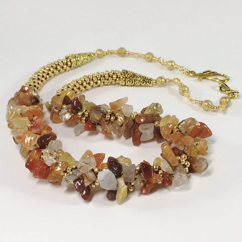 Handmade Carnelian Kumihimo Gemstone Necklace