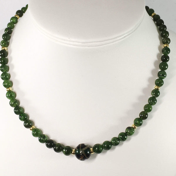 Handmade Russian Chrome Diopside And Sterling Silver Necklace