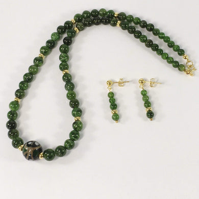 Handmade Russian Chrome Diopside Gemstone And Sterling Silver Necklace Set