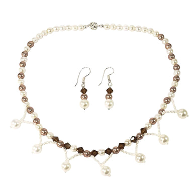 Handmade Shell Pearl And Swarovski Crystal Elements Bridal Necklace Set
