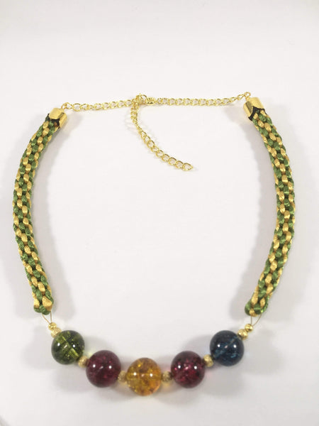 Handmade Coloured Quartz Gemstone Kumihimo Necklace