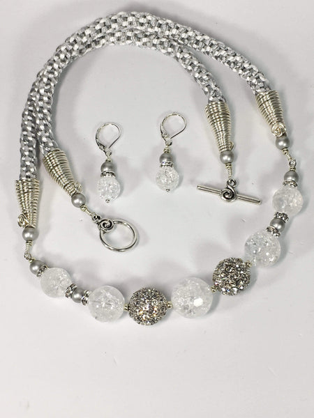 Handmade Crackled Quartz Gemstone And Kumihimo Necklace Set