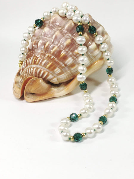 Handmade Freshwater Pearl And Swarovski Elements Knotted Necklace