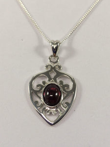 Garnet Filigree Heart Necklace