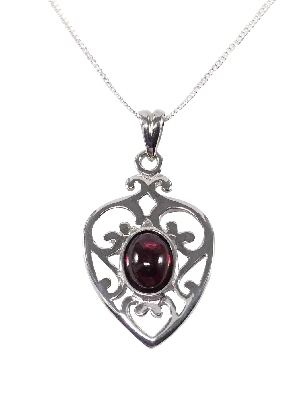Handmade Sterling Silver And Garnet Gemstone Filigree Heart Necklace