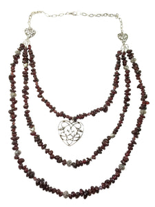 Handmade Garnet Gemstone Heart Necklace