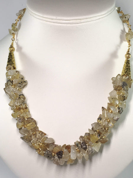 Handmade Golden Rutile Quartz Kumihimo Gemstone Necklace
