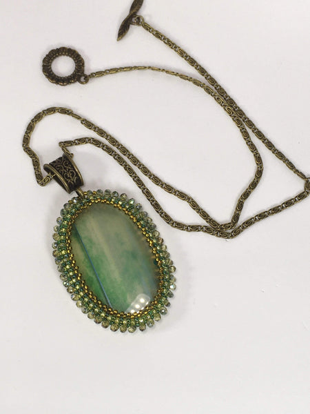 Handmade Green Onyx Gemstone Beaded Pendant