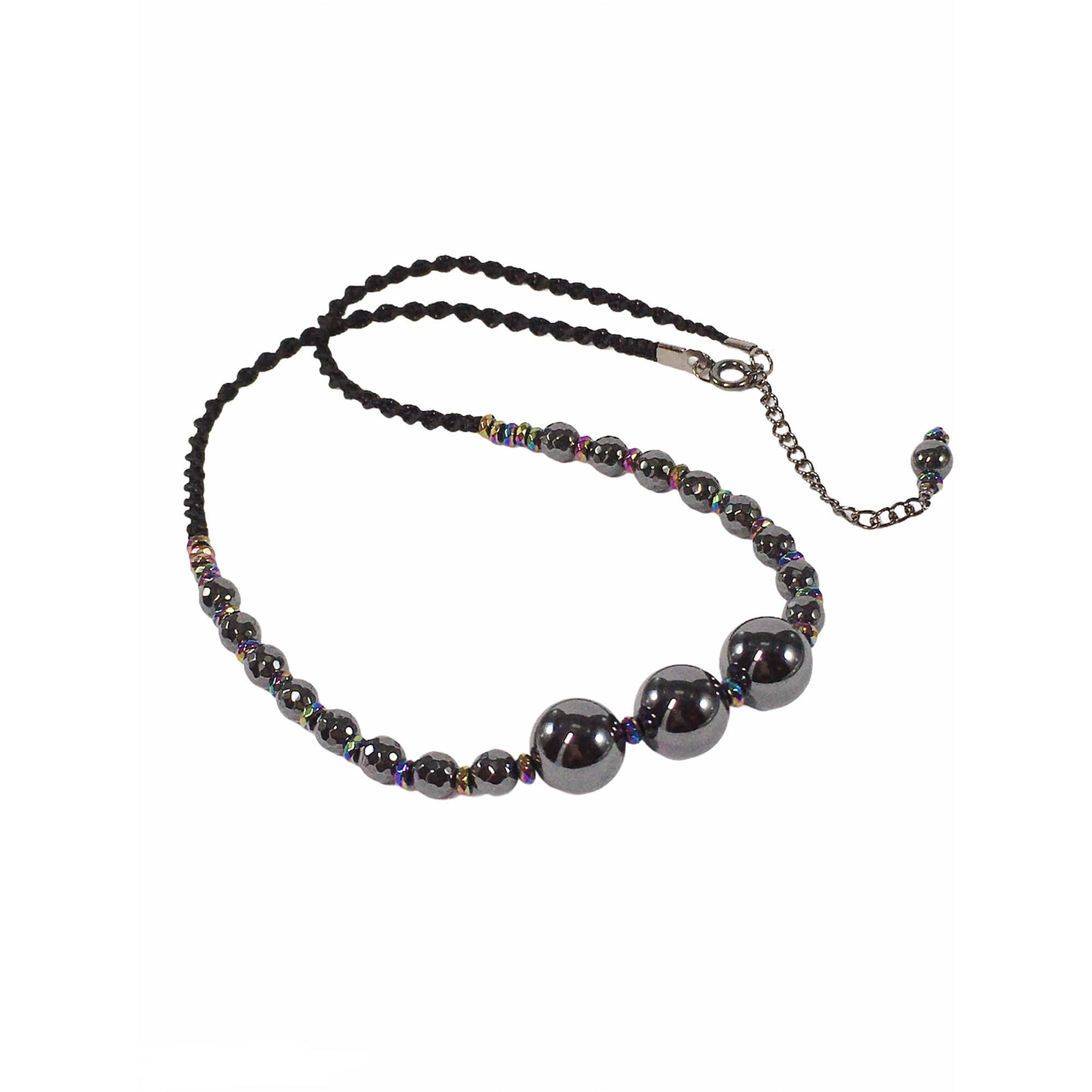 Handmade Hematite Gemstone Macrame Necklace