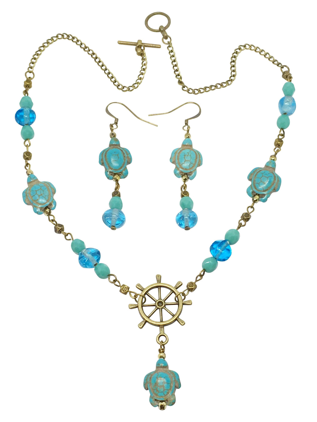 Handmade Howlite Gemstone Turtle Necklace And Earring Set