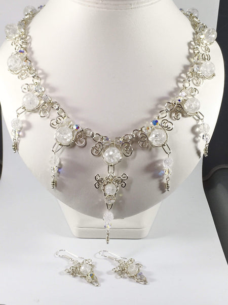 Handmade Clear Crackled Quartz Gemstone And Swarovski Elements Icicle Bridal Necklace Set