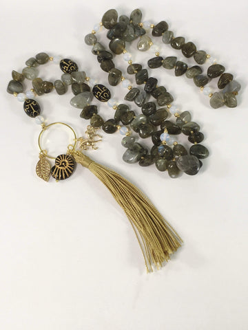 Handmade Labradorite And Moonstone Gemstone Yoga Style Necklace
