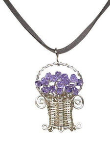 Handmade Wire Wrapped Flower Basket Pendant Necklace