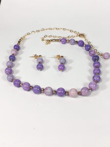 Handmade Lilac Peruvian Opal Gemstone And Rose Gold Plated Sterling Silver Necklace Set