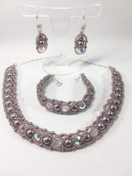 Handmade Shell Pearl Gemstone Bridal Necklace Set