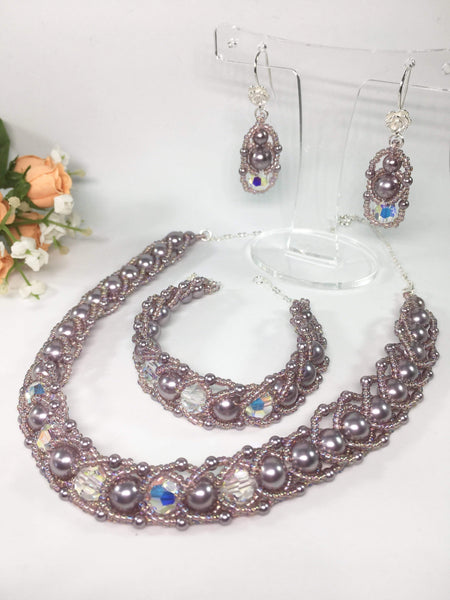Handmade Mauve Pearl Mother Of The Bride Necklace Set