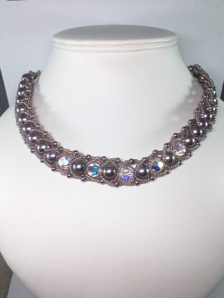 Handmde Shell PearlGemstone And Swarovski Crystal Bridal Necklace Set