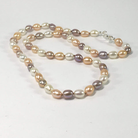 Handmade Multi Coloured Freshwater And Sterling Silver Knotted Pearl Necklace