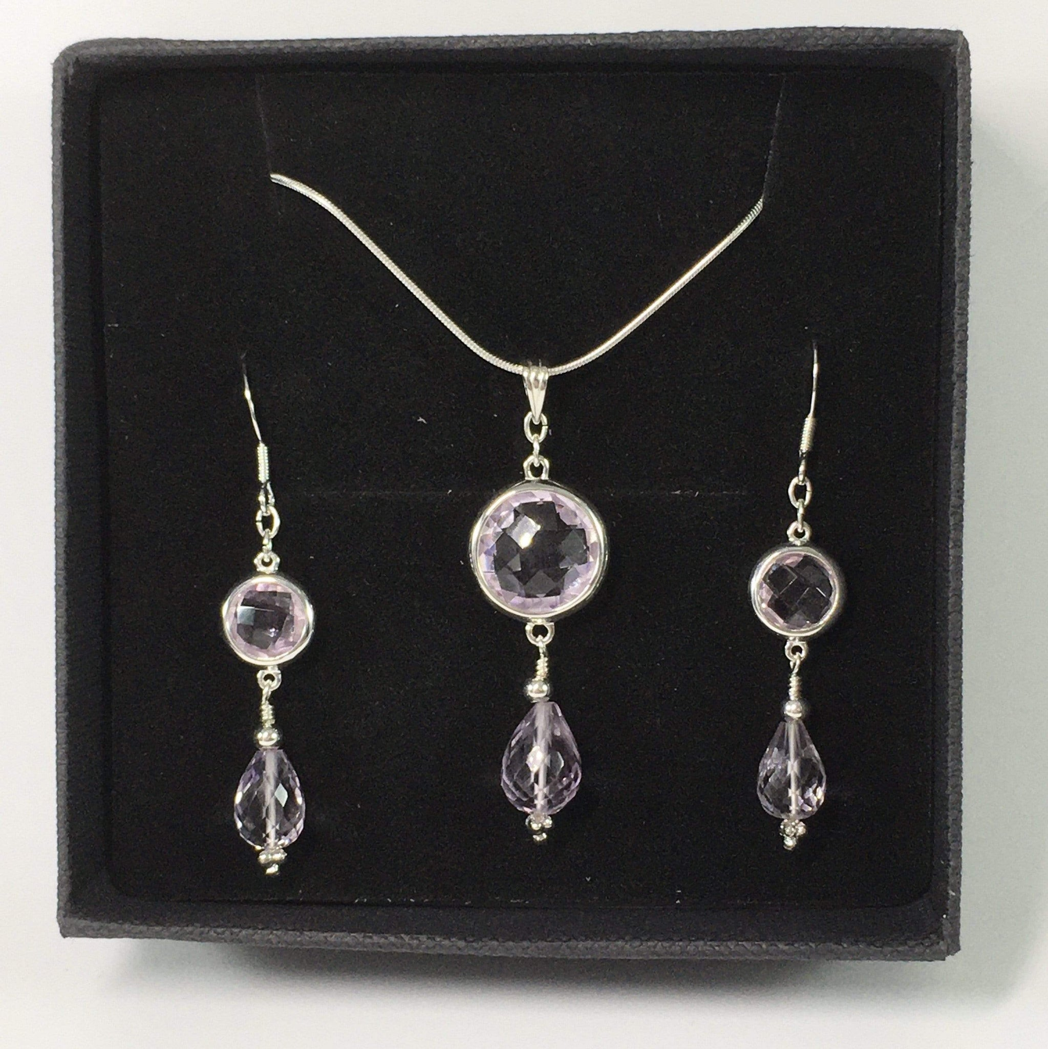 Handmade Pink Amethyst Gemstone And Sterling Silver Necklace Set