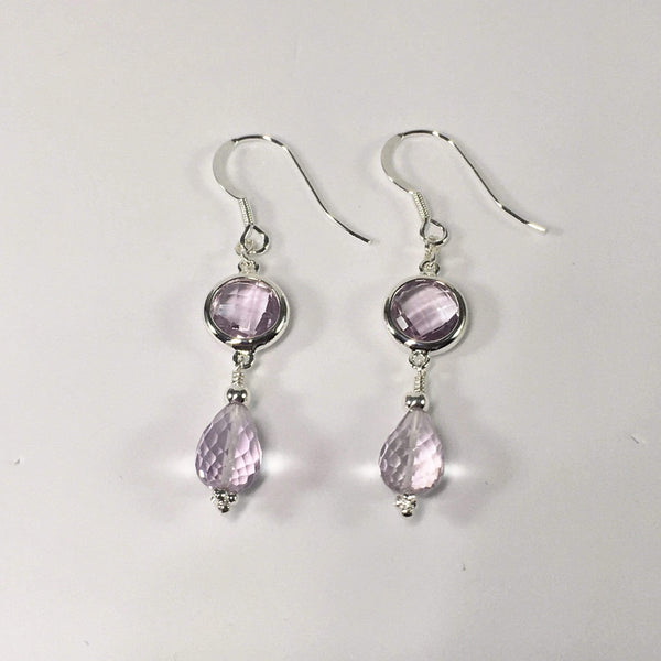Handmade Pink Amethyst Gemstone And Sterling Silver Earrings