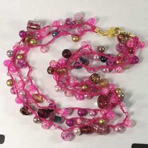Handmade Pink Beaded Crochet Multi Strand Necklace