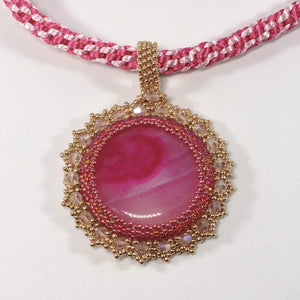 Handmade Beaded Pink Onyx Gemstone Pendant Necklace