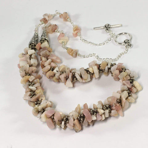 Handmade Pink Opal Kumihimo Gemstone Necklace