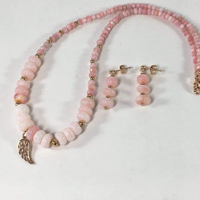 Handmade Pink Opal Gemstone And Sterling Silver Necklace Set
