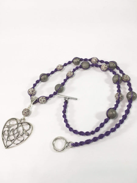 Handmade Purple Macrame Necklace