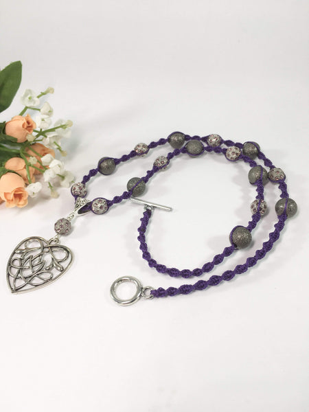 Purple Beaded Macrame Necklace