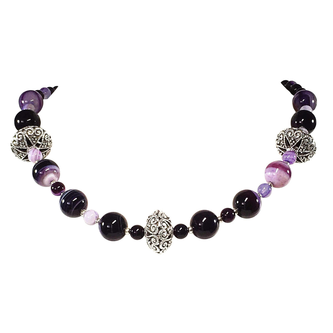 Handmade Purple Agate Gemstone Beaded Necklace