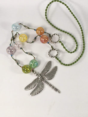 Handmade Rainbow Crackled Quartz Gemstone Dragonfly Necklace