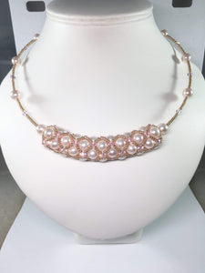 Handmade Shell Pearl Gemstone And Swarovski Elements Bridal Necklace