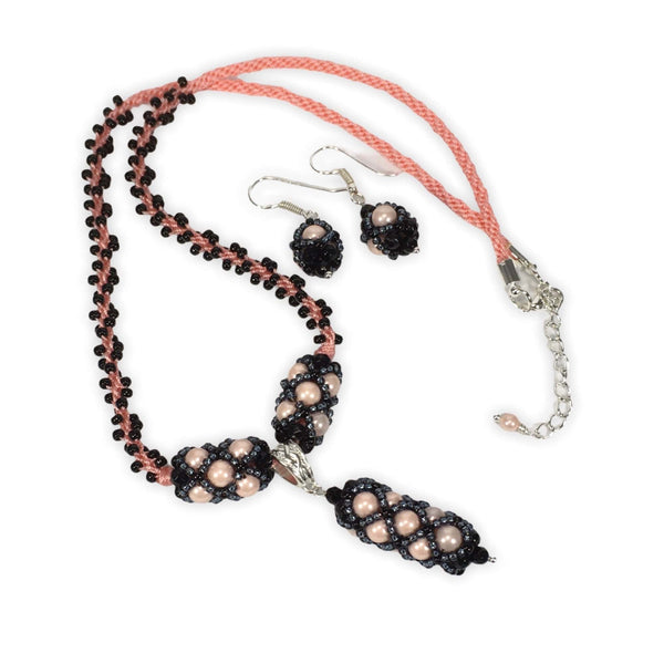 Handmade Shell Pearl Gemstone Criss Cross Beaded Kumihimo Necklace Set Pink