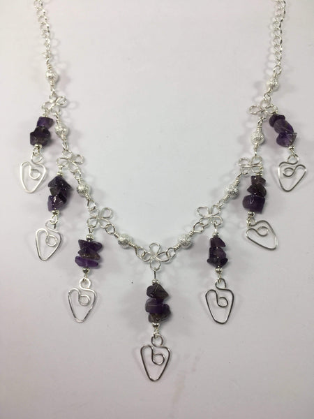 Gemstone Dangle Heart Necklace