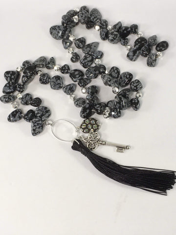Handmade Snowflake Obsidian And Hematite Gemstone Yoga Style Necklace