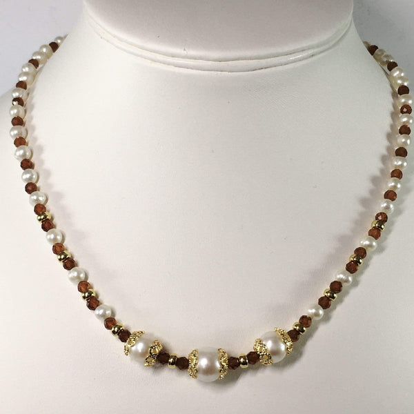 Handmade Spessartite Garnet And Freshwater Pearl Sterling Silver Gemstone Necklace