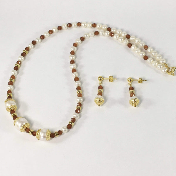 Handmade Spessartite Garnet And Freshwater Pearl Gemstone Necklace Set