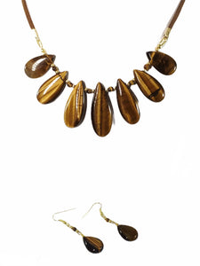 Handmade Tigers Eye Gemstone Necklace Set