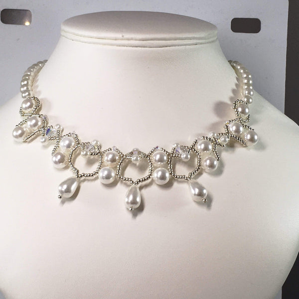 Handmade Handsewn Shell Pearl Gemstone And Swarovski Crystal Bridal Necklace Set