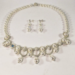 Handmade Handsewn Shell Pearl And Swarovski Crystal Bridal Necklace And Earring Set