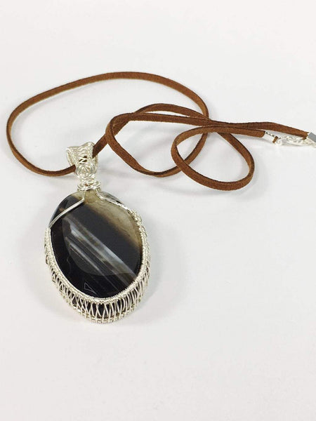 Handmade Wire Wrapped Onyx Gemstone Pendant Neckace